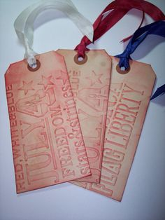 Embossed 4th of July Tags Set of 3 by mreguera on Etsy, $4.00