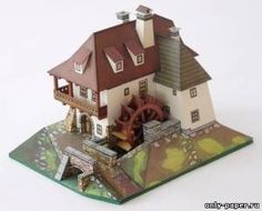 Water Mill / Vodni mlyn (ABC 24/1977) of paper, paper model download free. Papercraft, paper model free download template.