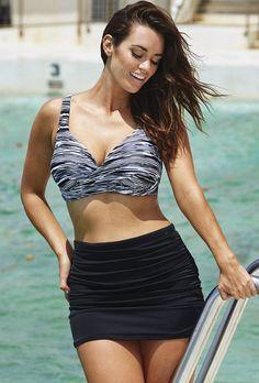 c392a44449 Plus Size Washed Out Shirred High Waist Skirtini Plus Swimwear