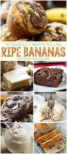 50 Different Ways to use up Ripe Bananas via @chef_n_training/  // .Have some bananas you don't know what to do with?! Then you need to save and use this list! So many delicious ideas! #banana #ideas #overripe #recipe #muffin #cake