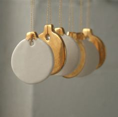 Mini Bauble Decoration, Real Gold Lustre by Jo Heckett contemporary holiday decorations  etsy.com