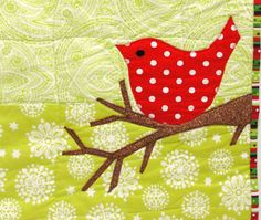 red bird wall quilt for Christmas, winter- Merry Bird in bright red on lime and white via Etsy