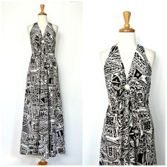 1970s Halter Dress / 70s dress / backless maxi by roguegirlvintage, $45.00