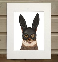 Bunny Mask on Cat print  tabby cat art print black rabbit