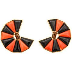 Unique Coral Black Onyx Gold Clip Earrings