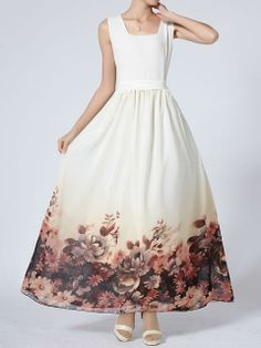 White Maxi Dress with Floral Printed Hem   Choies