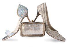 4e2352c6b0 RINALDI FOOTWEAR Silver Swarovski Set of Pump, Sandals & Clutch Vegan Shoes,  Pump,
