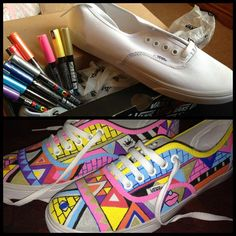 The next shoes I do will look like this! Skate Shoes, Vans Shoes, Sharpie Shoes, Most Popular Shoes, Vanz, Next Shoes, White Vans, Custom Vans, School Shoes