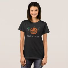 Trick or Treat? - womens t-shirt - Halloween happyhalloween festival party holiday