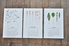 Calendar with simple & whimsical plant illustrations.