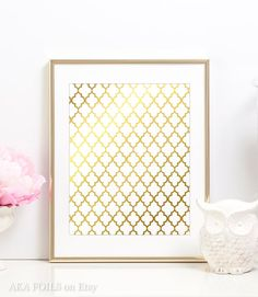 Moroccan Tile Print  Handmade in my studio using real gold foil on high quality cardstock. This type of printmaking is a specialized process where