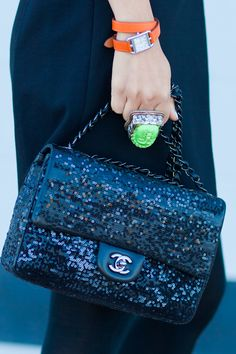 BCBGMAXAZRIA black blazer, Christian Louboutin Lady Daf, vintage ring, Hermes watch, Chanel 2.55 black sequin bag, Sabre sunnies, YSL red lipstick