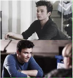 Chris Colfer recording in the same summer Above as Kurt Hummel in #Glee Below as Carson Philips in #StruckByLightning