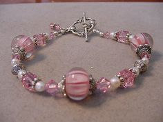 Pink Swarovski Cube and Glass Beaded Bracelet by Magicclosetbling
