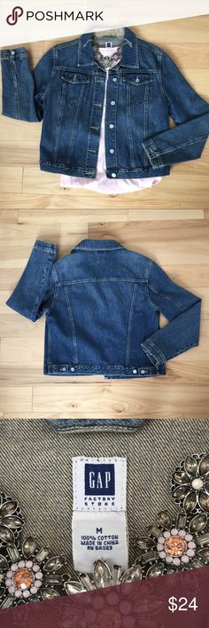 GAP Jean Jacket Classic jean jacket by the GAP factory store. A wardrobe staple. Great quality - EUC. Style up or down... you know what to do! Not sure why I keep buying them, but nobody needs this many jean jackets. GAP Jackets & Coats Jean Jackets