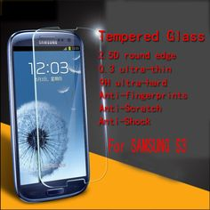 Wholesale 10ps/lot For Samsung S3 / i9300 Ultral thin  Anti-shock screen Tempered Glass 2.5D edge Without  Retail Package #Affiliate