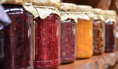 All are a mixture of fruit and sugar. The difference between jelly and jam is the amount of solid fruit in the mixture. Marmalade is made with citrus rinds. Jelly, jam and marmalade are all fruit preserves. Fruit Jam, Fresh Fruit, Fruit Preserves, Mixed Fruit, Strawberry Zucchini Jam, Strawberry Jam, Agar Agar Recetas, Jalapeno Jam, Jam And Jelly