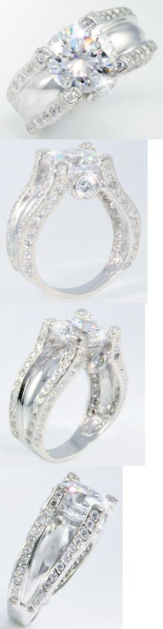 Synthetic Moissanite 110800: 5 Ct Statement Ring Russian Quality Cz Imitation Moissanite Simulant Ss Size 7 -> BUY IT NOW ONLY: $89.95 on eBay!