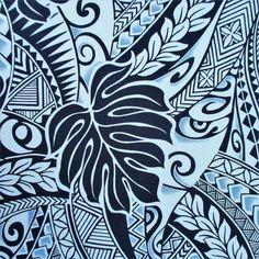 Fabric, Polynesian Tattoo Tapa Designs in Blue, Monstera Leaves, Hawaiian Tropical, By The Yard Hawaiian Designs, Polynesian Tattoo Designs, Polynesian Tribal, Hawaiian Art, Hawaiian Tattoo, Hawaiian Tribal, Hawaiian Tropic, Motif Tropical, Tropical Fabric