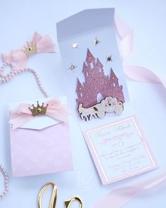 Castle and Carriage Princess Pop Up Invitations Cinderella Invitations, Mickey Invitations, Diy Birthday Invitations, Pop Up Invitation, Quince Invitations, Box Invitations, Princess Invitations, Handmade Invitations, Christening Invitations