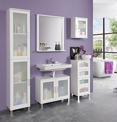 Trendteam 1681-501-01Meubles, bois, blanc mélamine/Verre satniert, 35x 22x 48cm: Armoire de salle de bains au design trendy Armoire de…