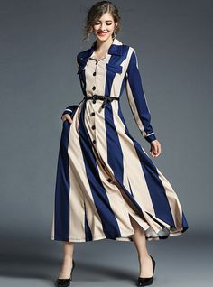 Buy Elegant Lapel Vertical Striped A-line Maxi Dress with High Quality and Lovely Service at DressSures.com