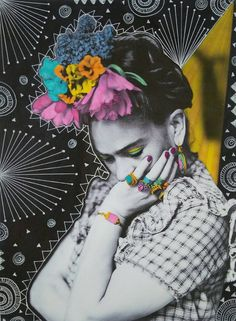 Thinking Frida Print by VixHarrisDesigns