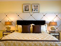 An over-the-top headboard commands attention in a bedroom. Have fun and be bold when choosing one.