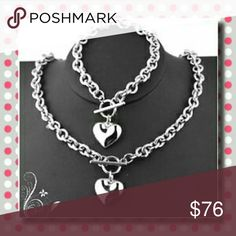 NEW!! Heart with Rolo Chain Necklace/Bracelet Set Condition: 100% brand new and high quality Quantity: 1 SET Color: Silver Material: Stainless Steel Size: 6.5mm(width); 18inches(N); 8inches(B) Jewelry