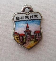 Vintage Silver Enamel Berne Bern Switzerland Travel Shield Charm | eBay