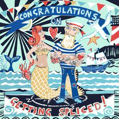 New greeting card design by Port and lemon, perfect for a nautical wedding! available soon from www.portandlemon.com