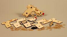 Bandit Guns - laser cut self-assembly rubber band guns.
