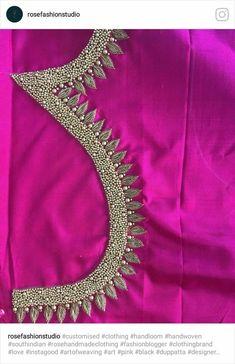 Best Blouse Designs, Simple Blouse Designs, Bridal Blouse Designs, Mirror Work Saree Blouse, Work Blouse, Hand Embroidery Designs, Beaded Embroidery, Kerala Saree Blouse Designs, Maggam Work Designs