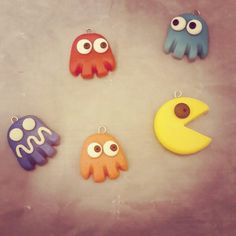 Pacman Polymer Clay Pendants by CazSteele on DeviantArt Polymer Clay Creations, Polymer Clay Crafts, Polymer Clay Pendant, Clay Tutorials, Clay Ideas, Handmade Crafts, Jewelry Crafts, Charms, Geek Stuff