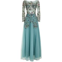 Patricia Bonaldi Floral Sequin Maxi Gown (88.525 RUB) ❤ liked on Polyvore featuring dresses, gowns, blue sequin gown, floral print maxi dress, floral gown, blue evening gown and sequin evening gowns