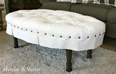DIY ottoman with old coffee table base.  Redo It Yourself Inspirations : Trash to Treasure Treasure Tuesday.