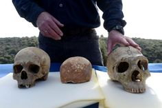 Human skull in Israel is oldest outside of Africa - Professor Israel Hershkovitz of Tel Aviv University-Homo sapien skull, left, a recently discovered 55k-year-old human skull & a Neanderthal skull, right, The 55K yro skull is an important discovery in human evolution & Is the earliest fossil evidence outside of Africa indicating an origin in Africa. The partial skull offers clues to the first modern Europeans