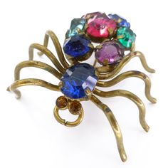 Vintage Deco Signed Czechoslovakia Rainbow Glass Spider Insect Pin Brooch | Clarice Jewellery | Vintage Costume Jewellery