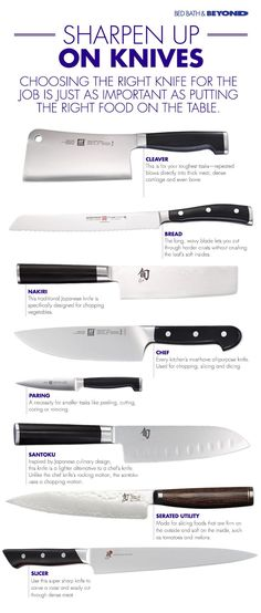 Choosing the right knife for the job is just as important as putting the right food on the table.: