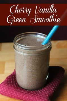 Cherry Vanilla Green Smoothie recipe with dark sweet cherries, banana, vanilla, ground flax seed, coconut milk and kale. Clean Eating and Weight Watchers Friendly 172 calories 4 Weight Watchers Points Plus Smoothie Vert, Juice Smoothie, Smoothie Drinks, Fruit Smoothies, Healthy Smoothies, Healthy Drinks, Cherry Smoothie, Simple Smoothies, Vanilla Smoothie