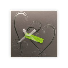 Modern Wedding Invitation Silver hearts on grey pocket and green insert #chartreuse
