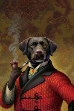 Dog Canvas, Animal Art, Wall Art, Canvas, Anthropomorphic, Painting, Art, Animal Portraits Art, Canvas Art