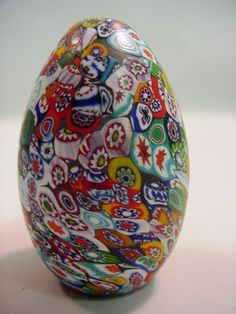 Vintage Italian MURANO Paperweight Blown Art Glass Egg Millefiori