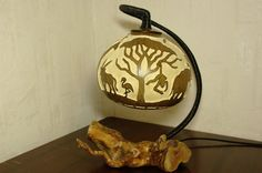 Handmade stirring calabash lamp out of Africa by CalabashLights