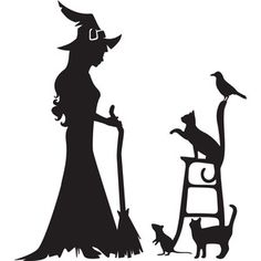 Silhouette Design Store - View Design a witch and her pets Witch Silhouette, Silhouette Cameo Projects, Silhouette Design, Halloween Rocks, Holidays Halloween, Halloween Crafts, Halloween Silhouettes, Halloween Quilts, Witch Art