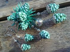 Pinecone jewelry (I think the artist used polymer clay)