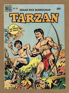 Tarzan line drawn cover-Jesse Marsh interior art-VG MINUS in Comic Books > Golden Age Colt 45, Tarzan, Mario, Westerns, Children's Comics, Nostalgia, White Pages, Vintage Magazines, Line Drawing