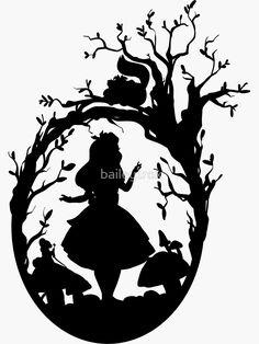 'Silhouette – Alice In Wonderland' Sticker by Silhouette – Alice In Wonderland by – Disney Crafts Ideas Silhouettes Disney, Disney Silhouette Art, Ship Silhouette, Vintage Silhouette, Alice In Wonderland Silhouette, Alice In Wonderland Party, Tattoo Alice In Wonderland, Outdoor Stickers, Camping Activities