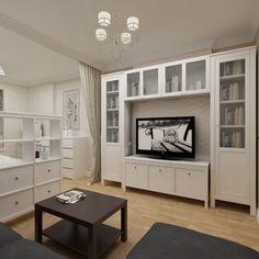 Компактная и элегантная зона гостиной. Трюмо служит перестенком со спальней. Интерьер спроектирован студией Татьяны Зайцевой.
