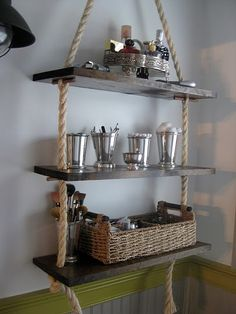 Rope shelves. These would be awesome for plants, or for a tea shelf in the kitchen.